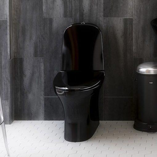 Toalettstol Gustavsberg Estetic 8300 Svart Toalett hygienic flush med soft close