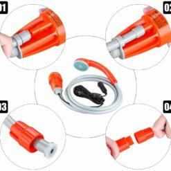 Portabel campingdusch med batteriuttag 12V