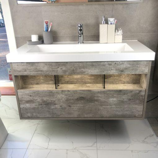 Tvättställsskåp Cement 100 cm QBad Högbo