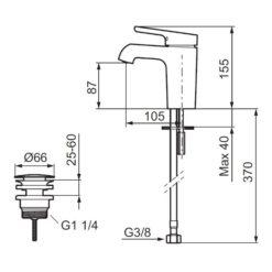 Mora One Tvättställsblandare med push down ventil