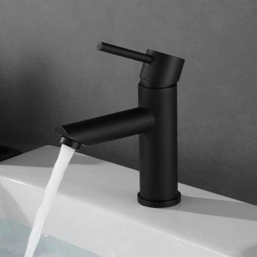 Tvättställsblandare Mattsvart Qbad