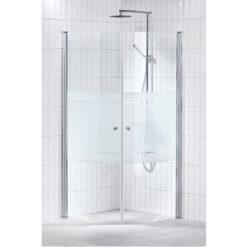 Duschväggar Svängda Alterna Lusso Delvis Frostat Glas 90x90 cm