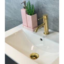 Tvättställsskåp Grå 60 cm Qbad Solsidan