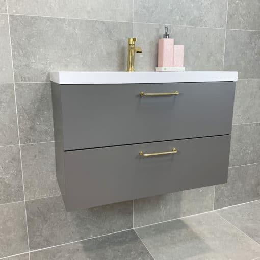 tvättställskommod grå matt 80 cm qbad