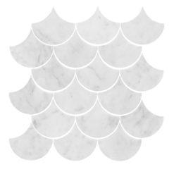 Bricmate Marmormosaik U Fish Scale Carrara Polished 70x70