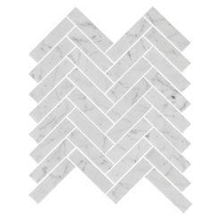 Bricmate Marmormosaik U Fishbone Carrara Polished 23x98