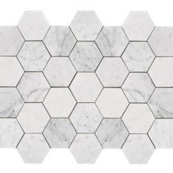 Bricmate Marmormosaik U Hexagon Large Carrara Honed Hexagon