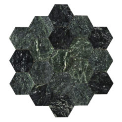 Bricmate Marmormosaik U Hexagon Large Green Marble Polished Hexagon