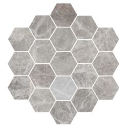 Bricmate Marmormosaik U Hexagon Large Grey Marble Honed 100x100